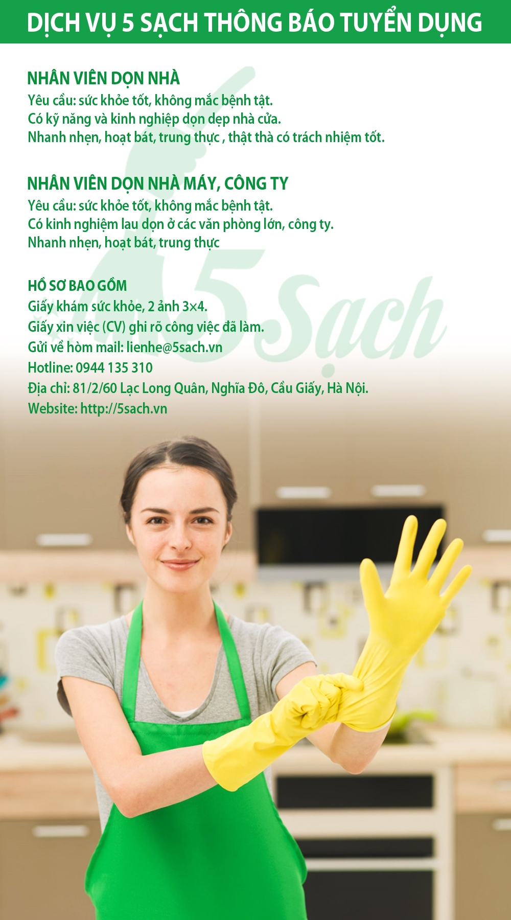 Công ty vệ sinh 5 Sạch tuyển dụng nhân viên